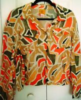 RUBY RD Size 16 Macy's Blouse-Button Up-Orange Mutli Colored-4 pockets