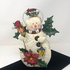 "Snowman Painted Metal Tea Light Candle Holder Lantern  10"" Cardinal Bird"