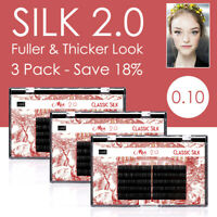 3 Pack 0.10 Silk Lash Individual Eyelash Extension Salon 3D Russian Volume Sets