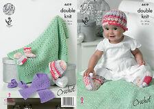 """King Cole DK  Crochet Pattern 4419:Hat,Scarf,Shoes,Socks & Blanket 14""""-22"""""""