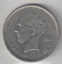 BELGIUM,  1937,  5 FRANCS,  NICKEL,  KM#108,  VERY FINE-EXTRA FINE+