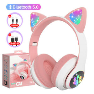 Flash Light Cute Cat Ears Wireless Headphones With Mic Can Control LED Stereo