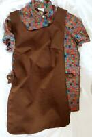 Vtg Expectantly Yours Flower Pattern Maternity w Brown Geometric Texture Tabard