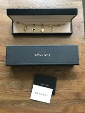 GENUINE BVLGARI BRACELET - 18ct YELLOW GOLD CHARM BRACELET WITH 4 CHARMS