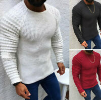 Men's Cable Stripe Knit Sweater Crew Neck Long Sleeve Soild Comfortable Pullover