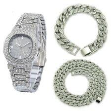 Necklace+watch+bracelet Hip Hop Miami Curb Cuban Chain Gold Color ice Rhinestone