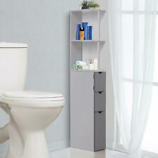 Tall & Slim Freestanding Bathroom Furniture Storage Cupboard White