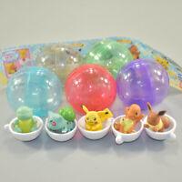 5pcs/set Pokemon Pikachu Eevee Bulbasaur Teacup Figures Cute Anime PVC Toy Gift