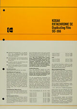 Kodak Ektachrome SE Duplicating Film SO-366 - Kodak Datenblatt P-D-17