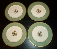 "(4) Flintridge AVALON Sage Green Gold Trim 6 1/4"" Bread & Butter Plates"