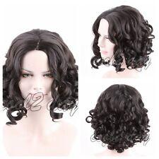 Korean Style Women Short Wavy Curly Black Heat Resistant Hair Synthetic Wig+Cap
