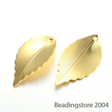 10pcs Gold Plated Curved Brass Leaf Pendants Decorative Dangle Charms 26x15mm