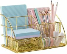Gold Desk Organizer for Women, Multi-Functional Desk Supply Organizer