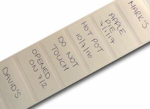 100 WHITE 25mm x 50mm POLYPROP FREEZER ADHESIVE WRITE ON FOOD LABELS