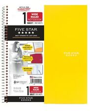 "FIVE STAR 5 SUBJECT WIDE RULED YELLOW NOTEBOOK 200 10.5"" X 8"" SHEETS"