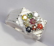 92.5 STERLING SILVER NAVRATNA BEAUTIFUL ZODIAC RING FOR SIZE Q 1/2 @ RARE PRICE