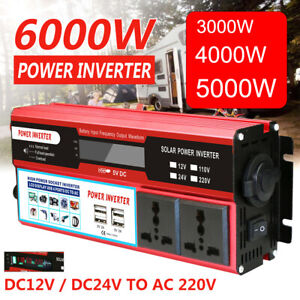 6000W Solar Power Inverter DC 12/24V to AC 220V Car Sine Wave Converter 4x USB