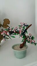 "Vintage Chinese Tree Glass Fruit Peach Tree - ""Bonsai Tree"" - 8-1/2 TALL"
