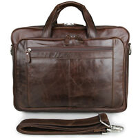 Men's Real Leather Business Laptop Bag Tote Messenger Shoulder Travel Bag Coffee
