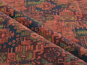 Kilim ethnic fabric upholstery tapestry southwestern boho decor red blue textile