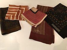 Joblots cinq Vintage Silk Scarves-COULEUR BRUN-Jean Patou Paris, ZENITH mode