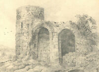 Mary Anne Baignis - c. 1825 Graphite Drawing, Castle Ruins