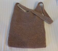 The Sak Large Brown Crochet Woven Cross Body Messenger Purse Handbag Tote
