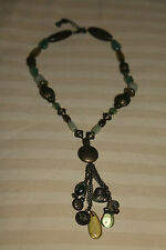 Shades of GREEN NECKLACE with BRONZE-Tone Details