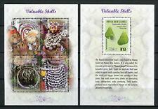 Papua New Guinea 2017 MNH Valuable Shells 1v S/S + 4v M/S Seashells Stamps