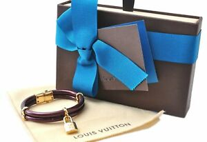 Auth Louis Vuitton Vernis Brasle Keep It Twice Bracelet Purple M6642E Box 0211A