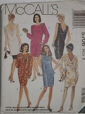 McCall's 5706 Sewing Pattern Misses' One or Two-Piece Dresses Size 8 UC