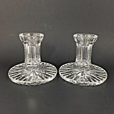 Waterford Crystal Candle Holder Holders Pair Pillar Candlestick Signed Glass Cut