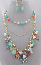 Charm Ocean Necklace Set Layered Gold Chain Fashion Jewelry New