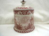 Antique Porcelain Tobacco Humidor Jar Unknown Maker 2 Lions Shield Crown w2s15