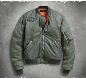 Harley-Davidson Men's Slim Fit Green Logo Bomber Jacket Size: XL- 97470-19VM