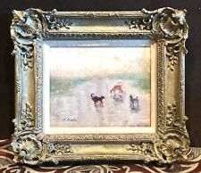 Antique Vintage 1946 Mary Anna Goetz Landscape W/Dogs Oil/Canvas Painting Framed