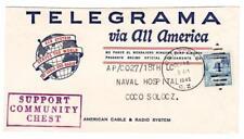 Canal Zone PANAMA-Sc#142(single frank)-CRISTOBAL OCT/18/1949-TELEGRAM
