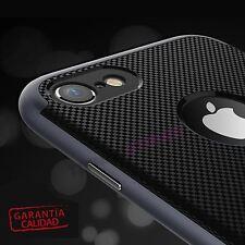 "Funda simula Fibra carbono compatible iPhone 7 4.7"" Negra carcasa fina y doble"