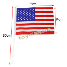 "5pcs American Us Usa Small Hand Waving Flags Sticks Party Favors 8.3""*5.5"""