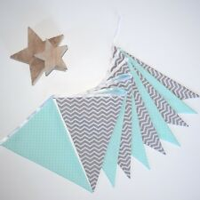 Nursery Bunting Grey Chevron and Polka Dot Mint Bunting - Sold by the Metre