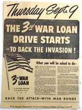 WWII 1943 3rd WAR LOAN US Flag New York Newspaper Ad