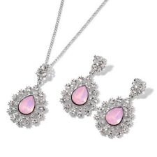 """Simulated Pink Moonstone Necklace Size 20""""+3"""" With Stud Earrings In Silver Toner"""