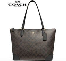 New Authentic Coach F29208 Zip Top Tote Handbag Purse Signature Brown/Black $278