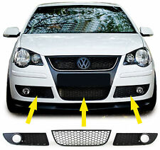 SPORTS WEB GTI BUMPER GRILL & FOG LIGHT COVERS / SURROUNDS FOR VW POLO 9N3