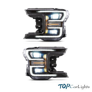 VLAND 2* LED  Black Headlights For 2018-2020 Ford F150 Projector W/ Assembly