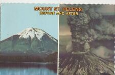 Mount St Helens Before & After 1980 USA Postcard 093a