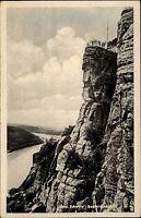 Sächs. Schweiz 50er Jahre Postkarte Berge Sachsen AK DDR Aussicht Bastei Felsen