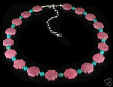 Sterling Silver Rhodonite Nugget Turquoise Necklace