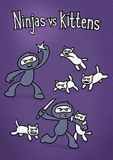 Genki Gear Cute Ninjas Vs Kittens Cat Funny Comedy Cartoon Purple A3 Wall Poster