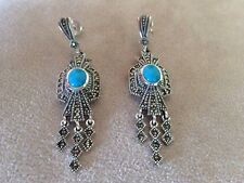 925 STERLING SILVER VINTAGE  MARCASITE TURQUOISE EARRING E-1806